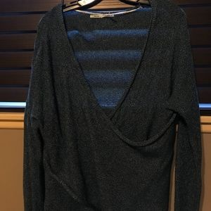 URBAN OUTFITTERS Blue Knitted Cross Front Sweater
